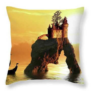 Sea Stack Castle Throw Pillow