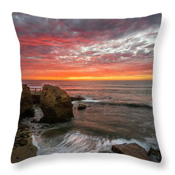 Sea Stack Sunset Throw Pillow