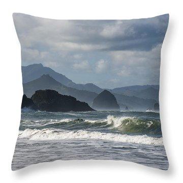 Sea Stacks And Surf Throw Pillow
