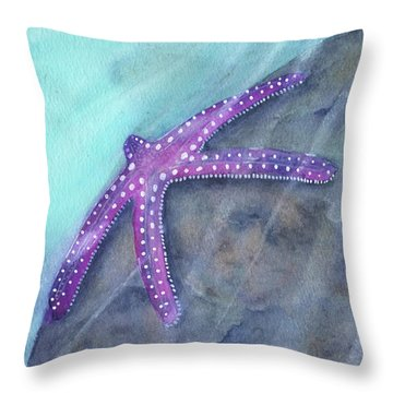 Throw Pillow featuring the painting Sea Star Rays by Betsy Hackett