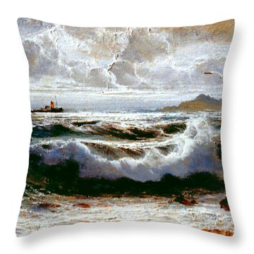 Throw Pillow featuring the painting Sea Storm by Rosario Piazza