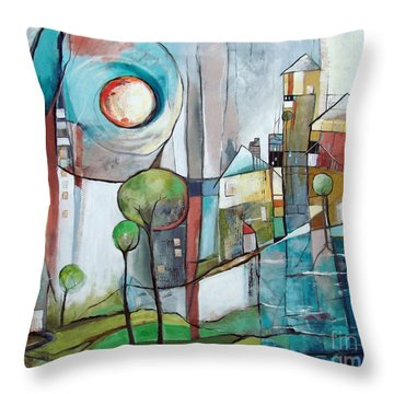 Sea Town Throw Pillow
