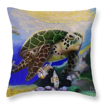 Sea Turtle Acrylic Painting Throw Pillow