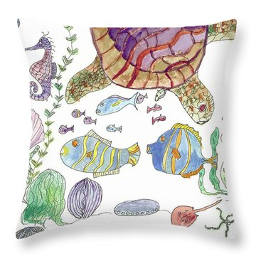 Sea Turtle And Fishies Throw Pillow