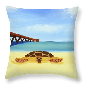 Sea Turtle Throw Pillow by Anthony LaRocca