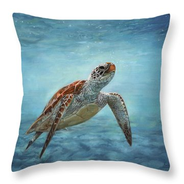 Sea Turtle Throw Pillow by David Stribbling
