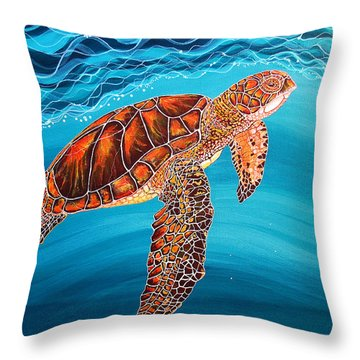 Throw Pillow featuring the painting Sea Turtle by Debbie Chamberlin