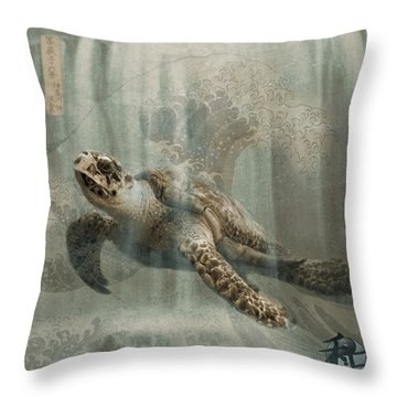 Sea Turtle Great Wave Throw Pillow by Karla Beatty