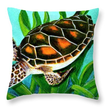 Sea Turtle Honu #352 Throw Pillow by Donald k Hall