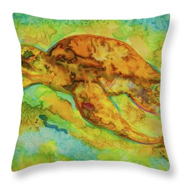 Sea Turtle Throw Pillow by Jacqueline Phillips-Weatherly