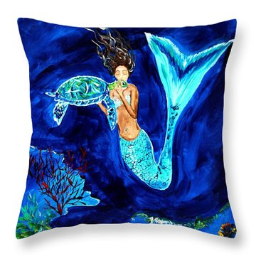 Sea Turtle Kiss Throw Pillow by Leslie Allen