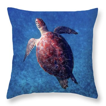 Throw Pillow featuring the photograph Sea Turtle by Lars Lentz