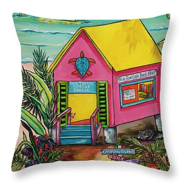 Throw Pillow featuring the painting Sea Turtle Rescue Center by Patti Schermerhorn