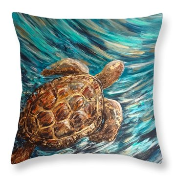 Sea Turtle Wave Guam Throw Pillow