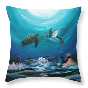 Sea Turtles Greeting Throw Pillow