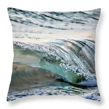 Sea Turtles In The Waves Throw Pillow by Barbara Chichester