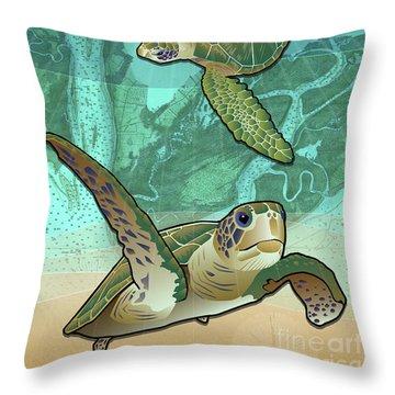 Sea Turtles Near Beaufort, Sc Throw Pillow