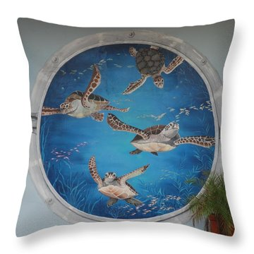 Sea Turtles Throw Pillow by Rob Hans