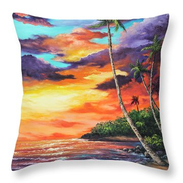 Throw Pillow featuring the painting Sea Wall Lahaina by Darice Machel McGuire
