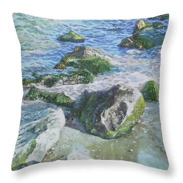 Sea Water With Rocks On Shore Throw Pillow