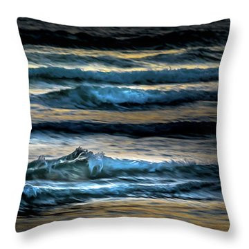 Sea Waves After Sunset Throw Pillow