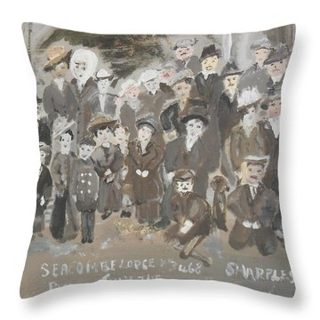 Throw Pillow featuring the painting Seacombe Picnic by Judith Desrosiers