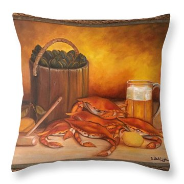 Seafood Night Throw Pillow by Susan Dehlinger