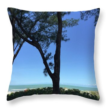 Seagrapes And Pines Throw Pillow by Megan Cohen