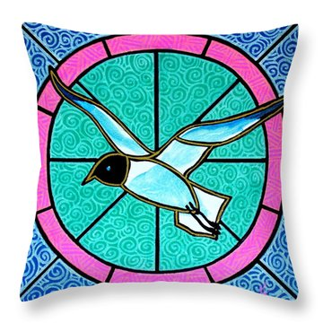 Throw Pillow featuring the painting Seagull 4 by Jim Harris