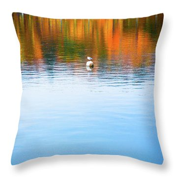 Throw Pillow featuring the photograph Seagull And Boat by Silvia Ganora