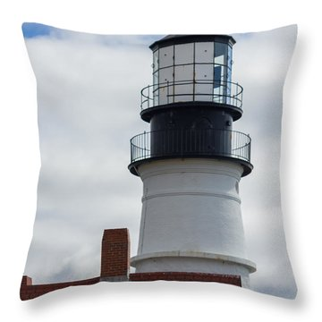Seagull At Portland Head Light Throw Pillow