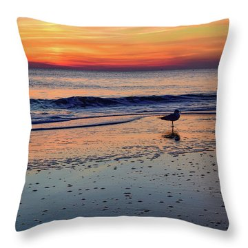 Seagull At Sunrise Throw Pillow