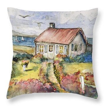 Seagull Cottage Throw Pillow