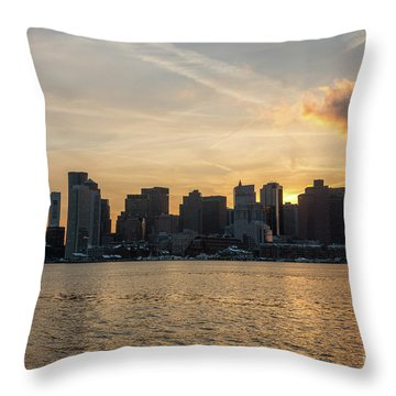 Seagull Flying At Sunset With The Skyline Of Boston On The Backg Throw Pillow