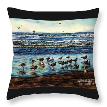 Seagull Get-together Throw Pillow