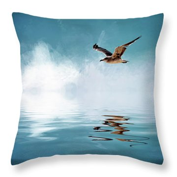 Seagull In Flight Throw Pillow by Cyndy Doty