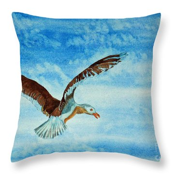 Seagull In Flight Throw Pillow by Terri Mills
