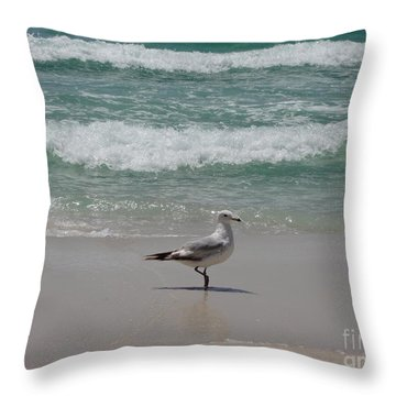 Seagull Throw Pillow by Megan Cohen