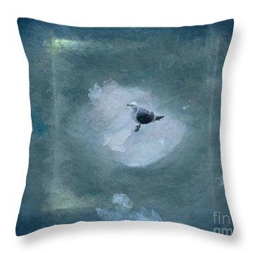 Seagull On Iceflow Throw Pillow by Victoria Harrington