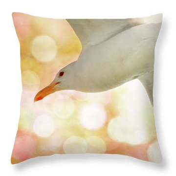 Seagull On Pink And Yellow Sky Throw Pillow