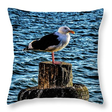 Seagull Perch Throw Pillow