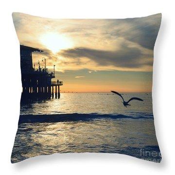 Seagull Pier Sunrise Seascape C2 Throw Pillow