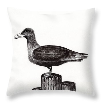 Seagull Portrait On Pier Piling E3 Throw Pillow by Ricardos Creations