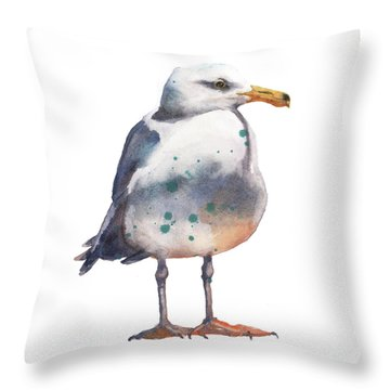 Seagull Print Throw Pillow by Alison Fennell
