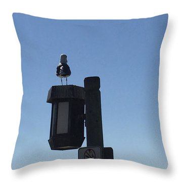 Seagull Sentry Throw Pillow by Russell Keating