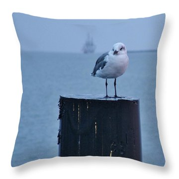 Seagull Ship Throw Pillow