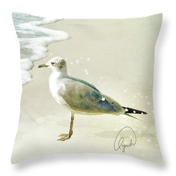 Seagull  Signed Throw Pillow
