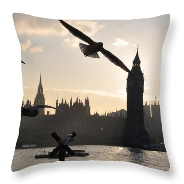 Seagull Skyline Throw Pillow