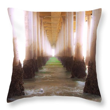 Throw Pillow featuring the photograph Seagull Under The Pier by Jerry Cowart