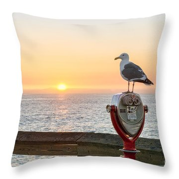 Seagull Watching The Sunset Throw Pillow